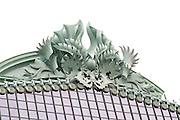 Aluminum ornamental roof sculpture by Kent Bloomer on the Harold Washington Library. Chicago Illinois USA
