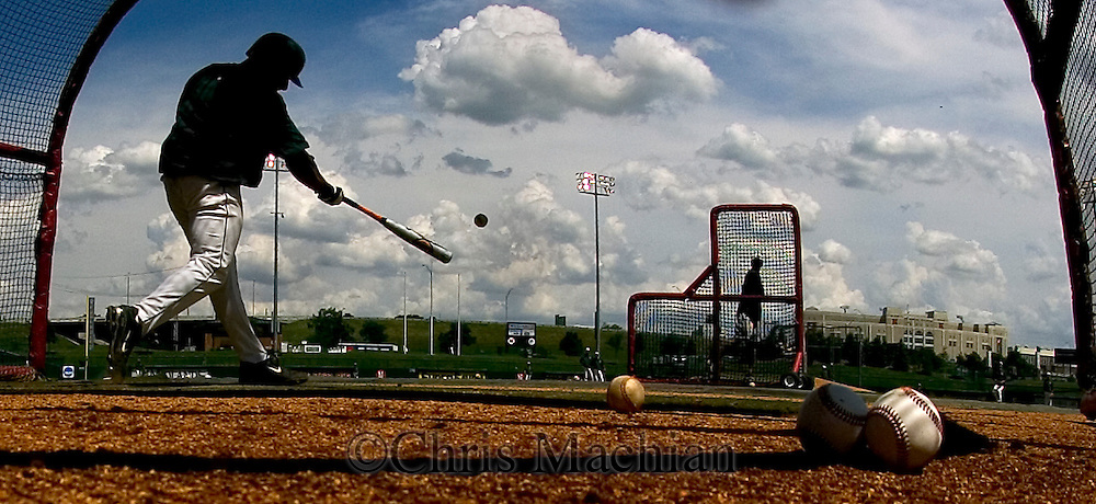 6/1/06 Lincoln, NE Dom  Lombardi of Manhattan University  takes batting practice at Haymarket Park in Lincoln Ne Thursday afternoon.  They will play in the NCAA regional tournament for the first time  in almost 50 years..(Chris Machian/Prairie Pixel Group)