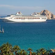 Cruise ship in Cabo San Lucas bay. BCS. Mexico.