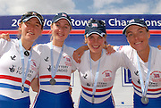 Munich, GERMANY, 02.09.2007,   A Final, GBR LW4X, Bow Sophie HOSKIN, Laura GRENHALGH, Mathlide PAUS and Jane HALL, Silver medallist lightweight Quadruple Sculls the 2007 World Rowing Championships, taking place on the  Munich Olympic Regatta Course, Bavaria. [Mandatory Credit. Peter Spurrier/Intersport Images]. , Rowing Course, Olympic Regatta Rowing Course, Munich, GERMANY
