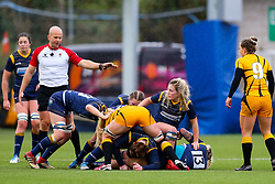 Alex Callender of Worcester Warriors Women tries to protect the ball at the breakdown - Mandatory by-line: Nick Browning/JMP - 24/10/2020 - RUGBY - Sixways Stadium - Worcester, England - Worcester Warriors Women v Wasps FC Ladies - Allianz Premier 15s