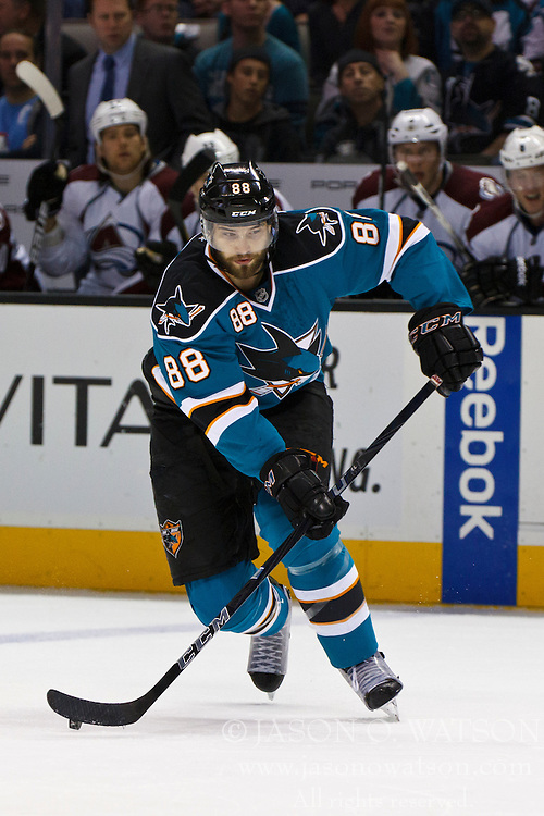 Mar 26, 2012; San Jose, CA, USA; San Jose Sharks defenseman Brent Burns (88) skates with the puck against the Colorado Avalanche during the first period at HP Pavilion. San Jose defeated Colorado 5-1. Mandatory Credit: Jason O. Watson-US PRESSWIRE