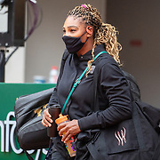PARIS, FRANCE September 28. Serena Williams of the United States arrives on course wearing a mask for her match against Kristie Ahn of the United States in the first round of the singles competition on Court Philippe-Chatrier during the  French Open Tennis Tournament at Roland Garros on September 28th 2020 in Paris, France. (Photo by Tim Clayton/Corbis via Getty Images)