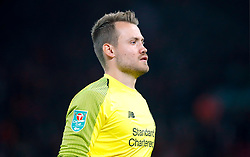 """Liverpool goalkeeper Simon Mignolet during the Carabao Cup, Third Round match at Anfield, Liverpool. PRESS ASSOCIATION Photo. Picture date: Wednesday September 26, 2018. See PA story SOCCER Liverpool. Photo credit should read: Martin Rickett/PA Wire. RESTRICTIONS: EDITORIAL USE ONLY No use with unauthorised audio, video, data, fixture lists, club/league logos or """"live"""" services. Online in-match use limited to 120 images, no video emulation. No use in betting, games or single club/league/player publications."""