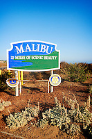Scenic Malibu Sign Along Pacific Coast Highway (US Hwy 1), Southern California