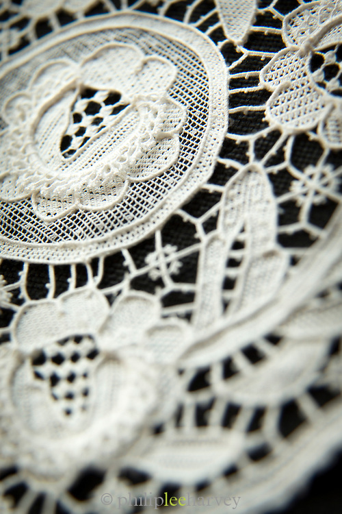Hand made lace detail, Burano, Venice, Italy, Europe