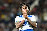 QPR defender Moses Odubajo (22) reacts after missing with a shot during the EFL Sky Bet Championship match between West Bromwich Albion and Queens Park Rangers at The Hawthorns, West Bromwich, England on 24 September 2021.