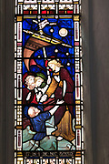 Church of Saint Gregory, Jesus calming the storm,, stained glass window, Hemingstone, Suffolk, England, UK