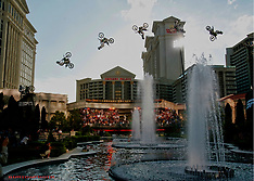 Motocross Freestyler Mike Metzgar jumps fountains at Caesars Palace for world record - 04 July 2018