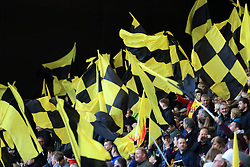A general view of Watford fans flying flags in the stands