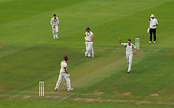 Harry Podmore of Middlesex celebrates the wicket of Peter Trego.  - Mandatory by-line: Alex Davidson/JMP - 10/07/2016 - CRICKET - Cooper Associates County Ground - Taunton, United Kingdom - Somerset v Middlesex - Specsavers County Championship Division One