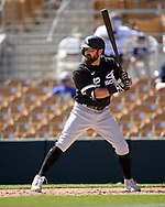 GLENDALE, ARIZONA - MARCH 08:  Adam Eaton #12 of the Chicago White Sox bats against the Los Angeles Dodgers on March 8, 2021 at Camelback Ranch in Glendale, Arizona.  (Photo by Ron Vesely) Subject:  Adam Eaton