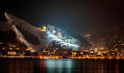 THEMENBILD - Heissluftballons während der Nacht der Ballone über der Stadt und dem Zeller See, aufgenommen am 07. Februar 2018 in Zell am See, Österreich // Hot air balloons during the night of the balloons over the city and the Zeller lake, Zell am See, Austria on 2018/02/07. EXPA Pictures © 2018, PhotoCredit: EXPA/ JFK