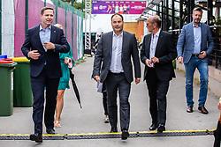 PORTOROZ, SLOVENIA - SEPTEMBER 18: Igor Zorcic, Andrej Slapar and Miran Krasevec during the double finals of WTA 250 Zavarovalnica Sava Portoroz at SRC Marina, on September 19, 2021 in Portoroz / Portorose, Slovenia. Photo by Nik Moder / Sportida