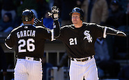 CHICAGO - APRIL 09:  Todd Frazier #21celebrates with Avisail Garcia #26 of the Chicago White Sox after Garcia hit a home run against the Cleveland Indians on April 9, 2016 at U.S. Cellular Field in Chicago, Illinois.  The White Sox defeated the Indians 7-3.  (Photo by Ron Vesely)  Subject: Todd Frazier; Avisail Garcia