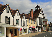 Historic street buildings and town hall at Great Dunmow, Essex, England, UK