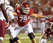 Nov 5, 2011; Fayetteville, AR, USA;  Arkansas Razorback offensive tackle Grant Freeman (79) blocks during an extra point attempt during a game against the South Carolina Gamecocks at Donald W. Reynolds Stadium.  Mandatory Credit: Beth Hall-US PRESSWIRE