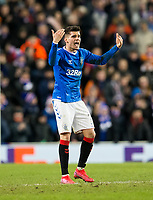 Football - 2019 / 2020 UEFA Europa League - Round of Thirty-Two, First Leg: Rangers vs. Sporting Braga<br /> <br /> Ianis Hagi of Rangers celebrates as he pulls a goal back to make it 1-2, at Ibrox Stadium.<br /> <br /> COLORSPORT/BRUCE WHITE