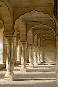 Column supports in the Amber Fort near Jaipur, Rajasthan, India