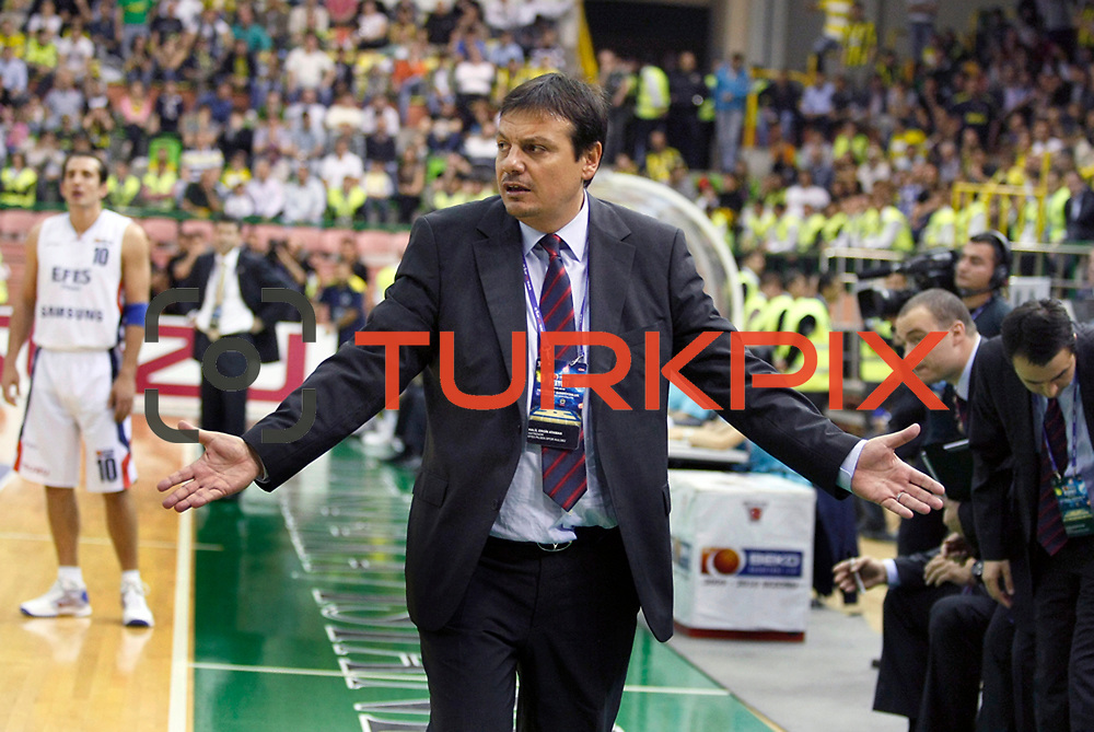 Efes Pilsen's coach Ergin ATAMAN during their Turkish Basketball league Play Off Final second leg match Efes Pilsen between Fenerbahce Ulker at the Ayhan Sahenk Arena in Istanbul Turkey on Saturday 22 May 2010. Photo by Aykut AKICI/TURKPIX