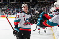 KELOWNA, BC - FEBRUARY 28: Jake Poole #23 of the Kelowna Rockets celebrates a second period goal against the Everett Silvertips at Prospera Place on February 28, 2020 in Kelowna, Canada. (Photo by Marissa Baecker/Shoot the Breeze)