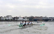 """LONDON, ENGLAND - Thursday  13/12/2012; Cambridge University Crews,""""Bangers""""  leads """"Mash"""", as both crews approach Barnes Rail Bridge, during the annual Varsity trial 8's for The BNY Melon University Boat Race over the Championship Course [Putney to Mortlake]. The River Thames, England. (Mandatory Credit/ Peter  Spurrier/Intersport Imag"""