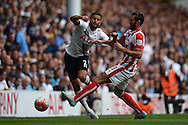 Erik Pieters of Stoke City tackles Kyle Walker of Tottenham Hotspur. Barclays Premier league match, Tottenham Hotspur v Stoke city at White Hart Lane in London on Saturday 15th August 2015.<br /> pic by John Patrick Fletcher, Andrew Orchard sports photography.