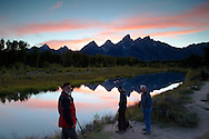 Photographers, Sunset, Shwabacker Landing, Grand Tetons, reflection, Grand Teton National Park, Jackson Hole, Wyoming
