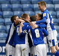 Photo: Steve Bond/Richard Lane Photography. Leicester City v Scunthorpe United. Coca Cola Championship. 13/02/2010. Michael Morrison (4) is congratulated on the opener
