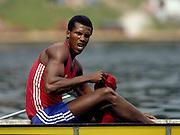 Bled, Slovenia, YUGOSLAVIA. CUB M2+. Roberto OJEDA GONZALEZ, 1989 World Rowing Championships, Lake Bled. [Mandatory Credit. Peter Spurrier/Intersport Images]