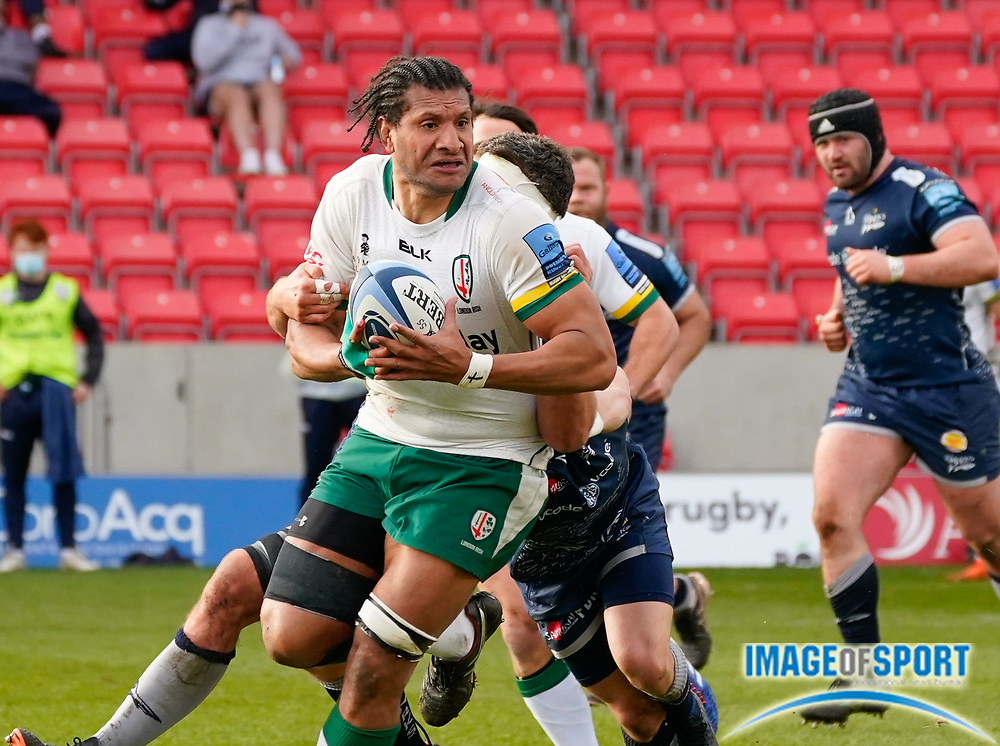 London Irish Lock Steve Mafi during a Gallagher Premiership Round 14 Rugby Union match, Sunday, Mar 21, 2021, in Eccles, United Kingdom. (Steve Flynn/Image of Sport)