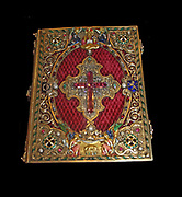 Book of Hours, Silver-gilt, gold, velvet, enamel, rubies, sapphires, emeralds, diamonds and pearls.  Paris, 1828-1842.  The book of hours is a fully illuminated manuscript on vellum, imitating late medieval examples.  It was made in Paris for Louis Jules.