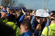 before the match Cardiff city fans protesting against Cardiff city owner Vincent Tan.Barclays Premier league, Cardiff city v Southampton at the Cardiff city Stadium in Cardiff,  South Wales on Boxing day, Thursday 26th Dec 2013. <br /> pic by Andrew Orchard, Andrew Orchard sports photography.