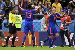 June 25, 2018 - Kazan, Russia - Yerry Mina of Colombia celebrates scoring during the 2018 FIFA World Cup Group H match between Poland and Colombia at Kazan Arena in Kazan, Russia on June 24, 2018  (Credit Image: © Andrew Surma/NurPhoto via ZUMA Press)