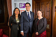 Rushanara Ali MP, Ed Miliband MP and Catherine McKinnell MP supporting the Enough Food for Everyone?IF campaign. .MP's and Peers attended the parliamentary launch of the IF campaign in the State Rooms of Speakers House, Palace of Westminster. London, UK.