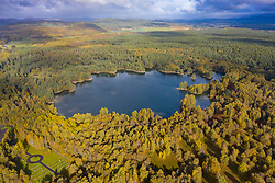 Aerial view of Loch Vaa in Cairngorms National Park near Aviemore, Scottish Highlands, Scotland, UK