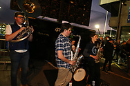 a band plays. Guinness Pro14 rugby match, Cardiff Blues v Dragons at the Cardiff Arms Park in Cardiff, South Wales on Friday 6th October 2017.<br /> pic by Andrew Orchard, Andrew Orchard sports photography.