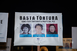 March 22, 2019 - Rome, Italy - Flashmob at Piazza Trilussa in Rome to remind respect for human rights in China and the dramatic conditions of the Tibetan people and the Uyghuro people (Credit Image: © Matteo Nardone/Pacific Press via ZUMA Wire)