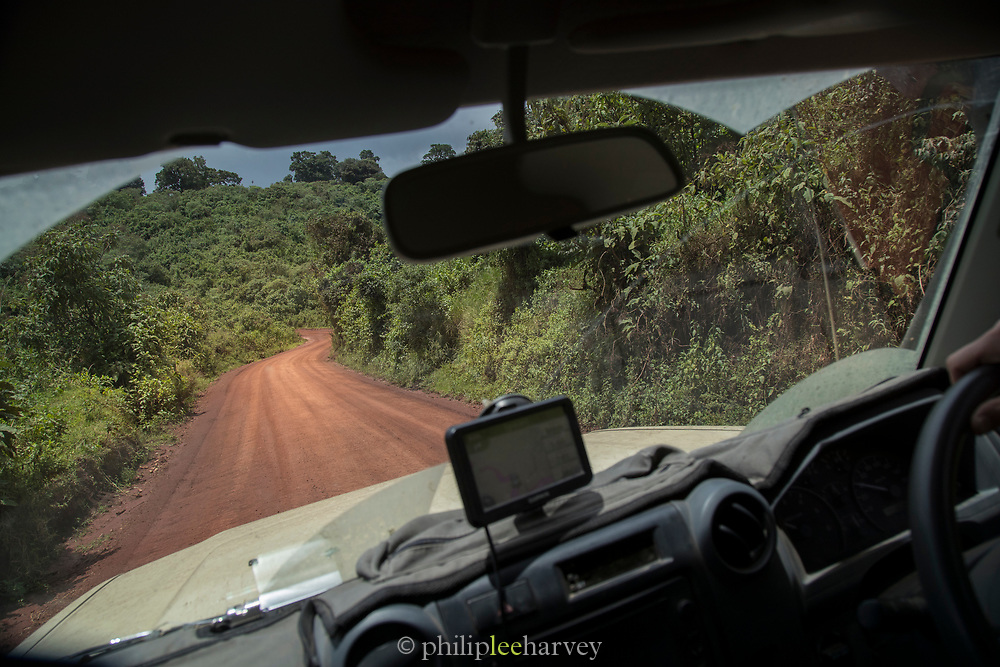 View through windshield of a safari car of a dirt road, Ngorongoro Conservation area, Tanzania