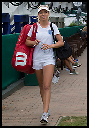 July 5, 2018 - London, London, United Kingdom - Image licensed to i-Images Picture Agency. 05/07/2018. London, United Kingdom. British tennis player Katie Boulter wearing an England football shirt as she arrives at the practice court before her second round match on day four of the Wimbledon Tennis Championships in London. (Credit Image: © Stephen Lock/i-Images via ZUMA Press)