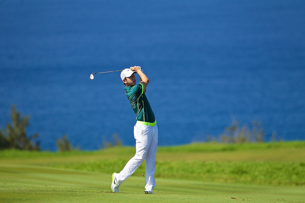 January 12 2015: Seung-Yul Noh on number ten during the Final Round of the Hyundai Tournament of Champions at Kapalua Plantation Course on Maui, HI.
