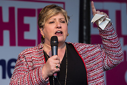 London, UK. 19 October, 2019. Emily Thornberry, Shadow Foreign Secretary, addresses hundreds of thousands of pro-EU citizens at a Together for the Final Say People's Vote rally in Parliament Square as MPs meet in a 'super Saturday' Commons session, the first such sitting since the Falklands conflict, to vote, subject to the Sir Oliver Letwin amendment, on the Brexit deal negotiated by Prime Minister Boris Johnson with the European Union.