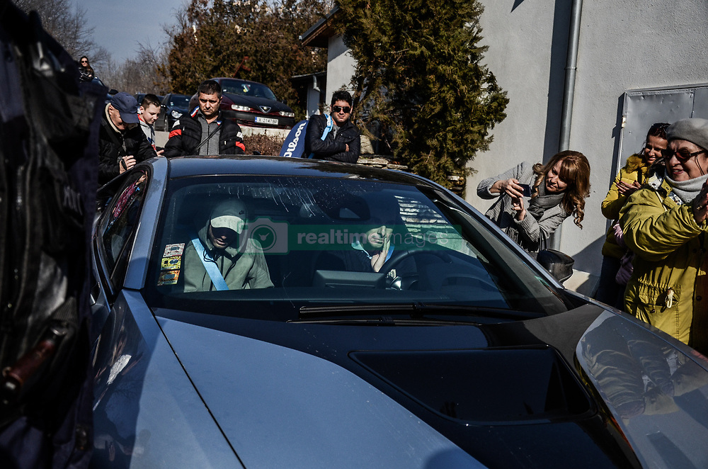 January 28, 2018 - Haskovo, Sofia, Bulgaria - Grigor Dimitrov leave the tennis court in Haskovo by his car. Bulgaria's Grigor Dimitrov gives open tennis lessons to children at his hometown of Haskovo, Bulgaria before the DIEMA XTRA Sofia Open 2018. Hundreds children and fans comes to the town central tenis court to receive signature and to take a picture with the 3rd of world men's tennis, Haskovo, Bulgaria on January 28, 2018  (Credit Image: © Hristo Rusev/NurPhoto via ZUMA Press)