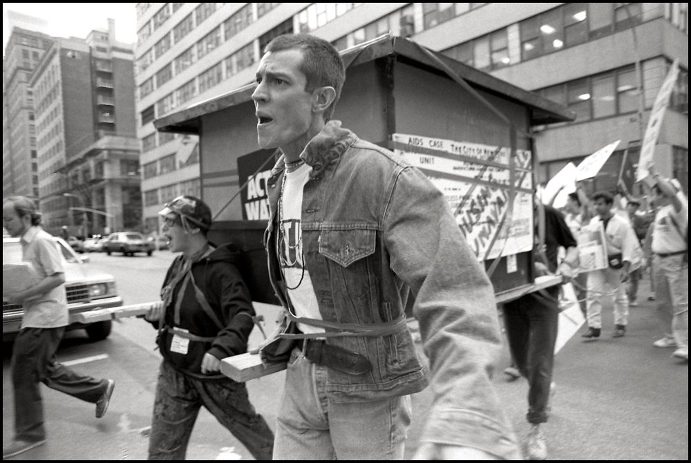 The ACT UP Housing Committee demonstrates at the NYC Housing Authority to protest discrimination against PWAs, survivors of PWAs who are not legal tenants, lesbians and gays. June 13, 1990