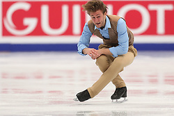 January 17, 2018 - Moscow, Russia - Figure skater Davide Lewton Brain of Monaco performs his short program during a men's singles competition at the 2018 ISU European Figure Skating Championships, at Megasport Arena in Moscow, Russia  on January 17, 2018. (Credit Image: © Igor Russak/NurPhoto via ZUMA Press)