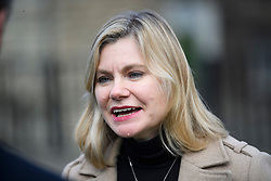© Licensed to London News Pictures. 21/02/2019. London, UK. JUSTINE GREENING MP seen speaking to media in Westminster, London. Conservative and Labour MPs have resigned form their respective parties . and joined newly formed The Independent Group, a breakaway campaign group formed by seven defecting Labour MPs. Photo credit: Ben Cawthra/LNP