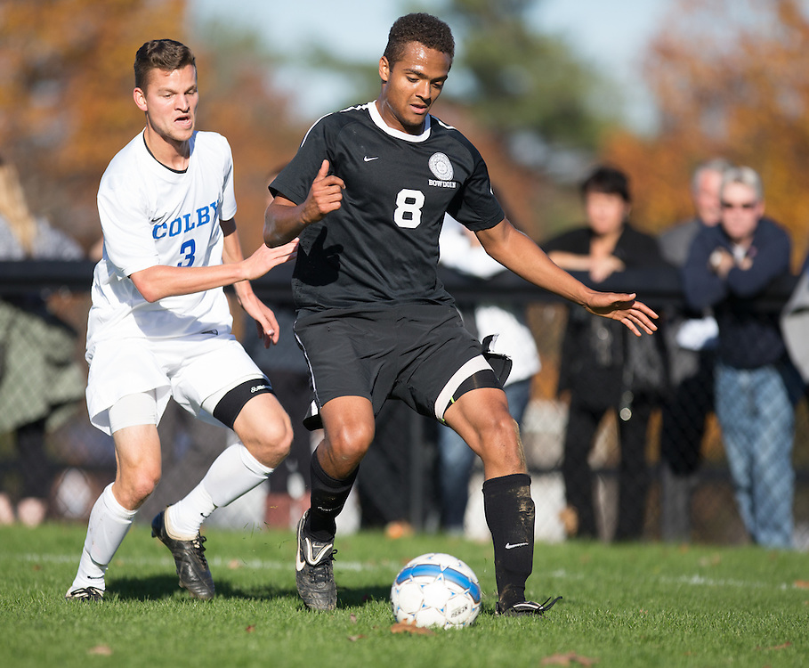 Matt Ayers, of Colby College, during a NCAA Division III men's soccer game on October 25, 2014 in Waterville, ME. (Dustin Satloff/Colby College Athletics)
