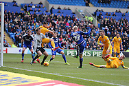Lex Immers of Cardiff city (27) sees his shot saved by Preston goalkeeper Anders Lindegaard. Skybet football league championship match, Cardiff city v Preston NE at the Cardiff city stadium in Cardiff, South Wales on Saturday 27th Feb 2016.<br /> pic by  Andrew Orchard, Andrew Orchard sports photography.
