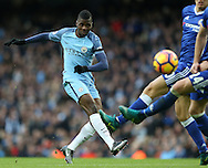 Kelechi Iheanacho of Manchester City fires in a shot during the Premier League match at the Etihad Stadium, Manchester. Picture date: December 3rd, 2016. Pic Simon Bellis/Sportimage