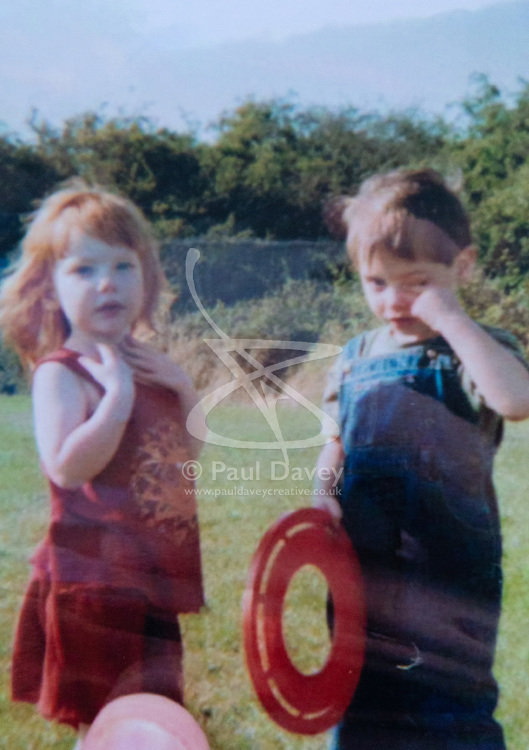 Jemma and childhood friend Connor aged four. Jemma Llewellyn, 22, who has waived her right to anonymity, has been successful in the prosecution of her uncle Richard Wallace 36 after he sexually assaulted her while she was seven months pregnant, asleep on her mother's sofa. Southend-On-Sea, March 29 2019.